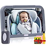 Baby Car Mirror with Light, Innokids Dual Mode LED Lighting by Remote Control, Clear View of Infant in Rear Facing Back Seat While Night Driving (Gray)