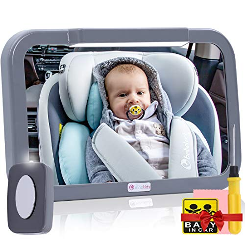 of baby floor seats dec 2021 theres one clear winner Baby Car Mirror with Light, Innokids Dual Mode LED Lighting by Remote Control, Clear View of Infant in Rear Facing Back Seat While Night Driving (Gray)