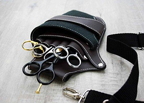 Sourcingmap Étui de protection en cuir pour ciseaux de coiffeur avec clip ceinture et rivets Noir/marron Parfait pour tous
