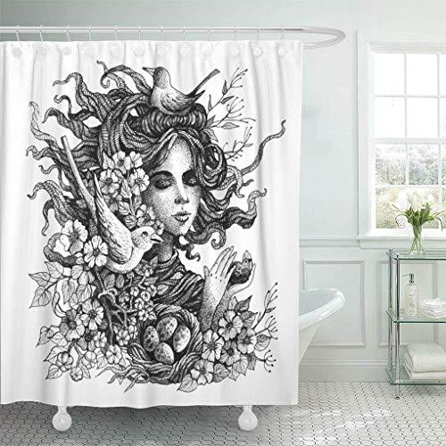 N\A Dekorativer Duschvorhang Grau Natur Grafische Frühlingsnester Imitation Gravurtechniken Gesicht Wasserdicht Mehltau Beständig Badezimmer Duschvorhänge Set mit Haken