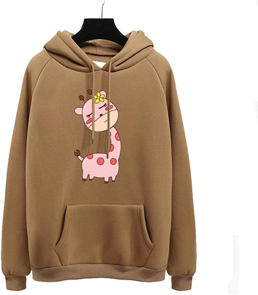 HTBYTXZ Mignon Rose Girafe Fille Imprimer Harajuku Hoodies Femmes Automne Hiver Dame Pull Kaki épais lâche Moletom Feminino vêtements HD1004 S Hd1015