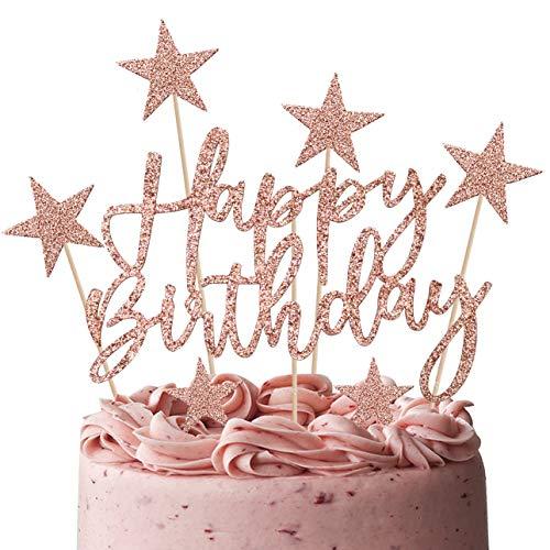 iZoeL Tortendeko Rosegold 2set Happy Birthday 20pcs Sterne Cake Topper Kuchendeko Rosa Gold Geburtstag Dekoration (Rosegold)