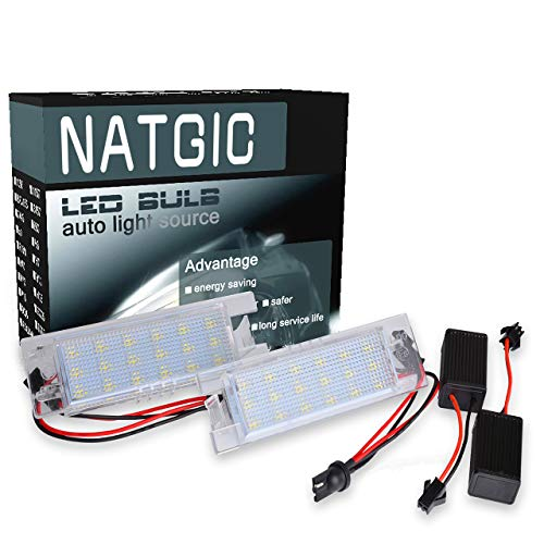 NATGIC LED License Plate Light 3528 Chips 18SMD Built-in CAN-BUS Waterproof CanBus Error Free License Plate Light LED Number License Plate Lamp Assembly 12V 3W - 6000K White (Pack of 2)