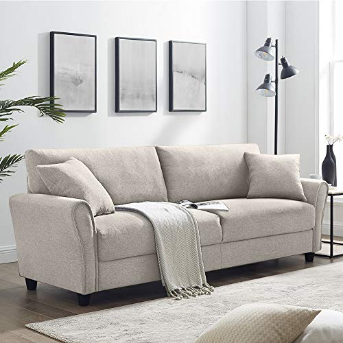 Tribesigns 3-Seater Upholstered Sofa, Modern Couch Linen Soft Loveseat Sofa Couch for Living Room Small Apartment,beige