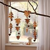 """4 Deko-Hänger """"Herbstblätter"""" aus Metall in Rost-Optik mit Naturzapfen und Holzperlen, 45 cm hoch"""