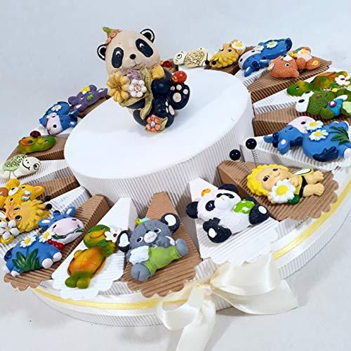 Sindy Bomboiniere bomboniere nascita battesimo ANIMALETTI colorati calamita con portafoto - torta con fette + magneti + 1 portafoto + confetti rosa … (torta 20 fette 1 PIANO a)