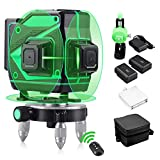 HUTACT 3D Laser Level 12 Line Green Laser Level 3x360 Automatic Rotating Laser with Vertical and Horizontal Line Leveling Tool for Indoor and Outdoor