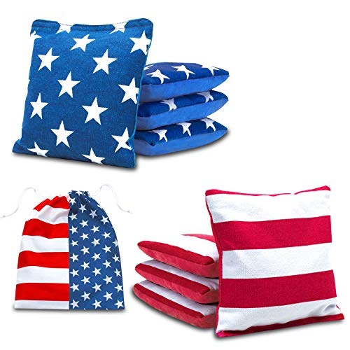 JST GAMEZ Professional Two Sided Cornhole Bags All Weather Bean Bags for Cornhole Toss Set of 8 Regulation Bean Bags Includes Carry Bag