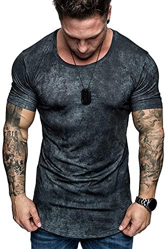 T-Shirt Uomo Estate Girocollo Tie Dye Uomo Shirt Casual Stretch Stampa Moda Maniche Corte Uomo Shirt Traspirante Sport Wicking Trend Bodybuilding Uomo Shirt Muscolare TXU-2374 5XL