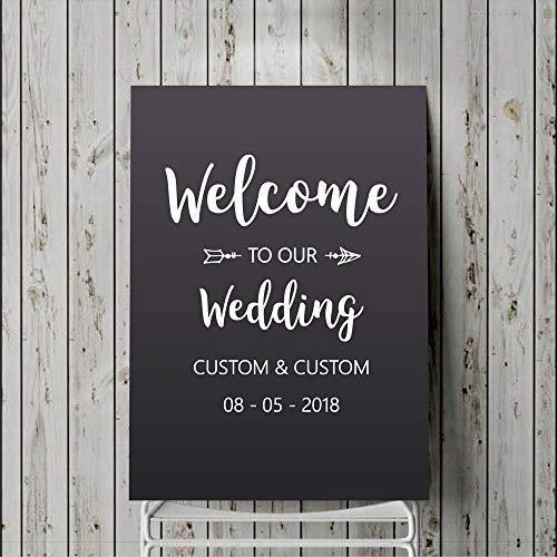 yuandp Welkome bruiloft aftrekbeeld gepersonaliseerde naamkunst sticker-rustieke bruiloft decoratiebord tekenen-spiegel-aftrekplaatjes zelfklevend 57 * 63 cm