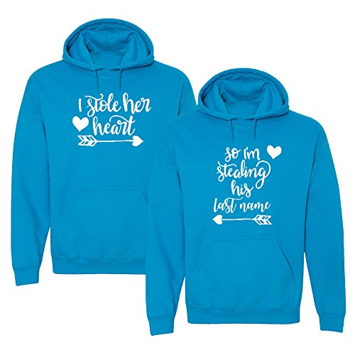 We Match!! - Couple Shirts - I Stole Her Heart & So I'm Stealing His Last Name - Matching Couples Hooded Sweatshirt Set (Ladies X-Large, Mens Medium, Sapphire, White Print)