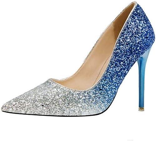 GGXDM Chaussures à Talons Talons Aiguilles Sexy Et Pointues pour Femmes, Talons Hauts, Couleur Bleu Argent  vente au rabais
