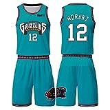 Ja Morant - Camiseta de baloncesto de 2 piezas Memphis Grizzlies 12#, para hombre, absorbe y secado rápido, ropa de hip hop, verde-S