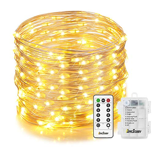 Homestarry Christmas Fairy Lights, 132 LED 33 ft, 6 AA Battery Operated String Lights Waterproof 8 Modes with Remote, Silver Wire Twinkle Lights for Bedroom Wedding Party, Warm White