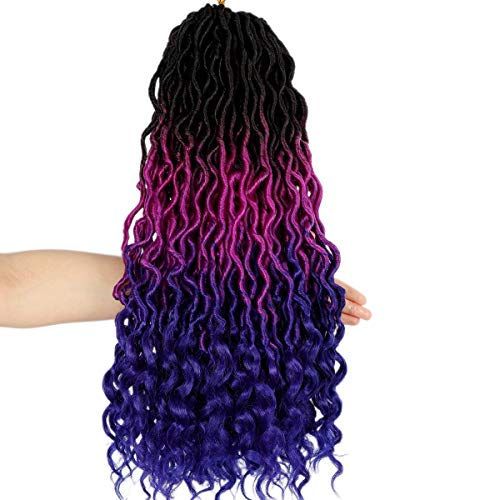 Ouyafei 5Pack Wavy Faux Locs Braids Crochet Hair 20inch Ombre Purple Blue Braiding Hair Goddess Locs with Curly Ends Synthetic Twist Crochet Hair Extensions (1B/Purple/Blue#,500g/Lot)