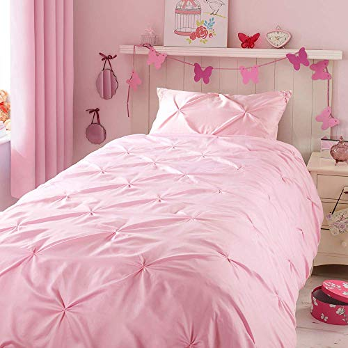 ZIGGUO Kids Duvet Cover Twin, No Comforter, Blush Pink Duvet Cover Set for Girls, Pinch Pleat Pintuck Diamond Pattern, Cotton Blend, 1 Duvet Cover and 1 Pillowcase Included