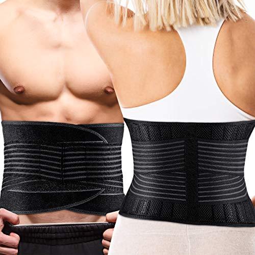 KUYOU Rückenbandage mit Stützstreben und Verstellbare Zuggurte und Atmungsaktiver Nylonstoff ideal für Arbeitsschutz entlastet die Rückenmuskulatur und zur Haltungskorrektur