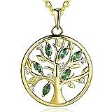 JO WISDOM Halskette Baum Des Lebens,Kette anhaenger silber 925 baum des lebens Familie Anhänger Halskette mit 3A Zirconia Mai Geburtsstein Smaragd Farbe mit Gelbgold überzogen,kette: 45-50CM
