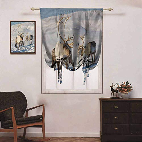 Winter Blackout Curtain Tie Up Shade Window Reindeers Norway Caribou 36 x 72 Inch Rod Pocket Curtain Panel