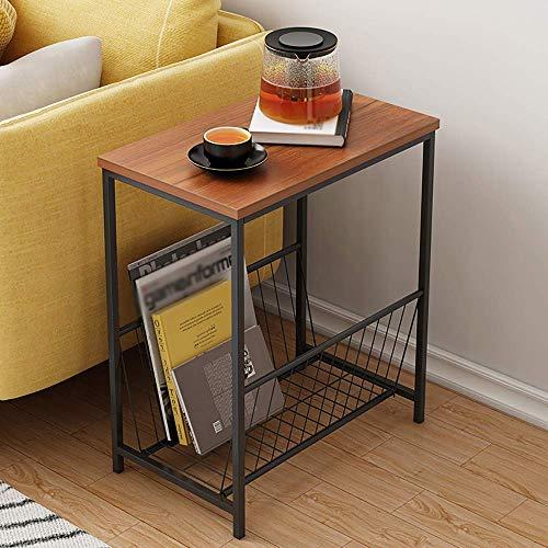 Inicio Muebles de mesa auxiliar Madera Marco de metal Mesas de centro para sala de estar con espacio de almacenamiento de marco abierto Estante de revista pequeño Mesa de bandeja de té de esquina crea