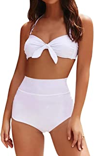 Women's Sexy Halter Bandeau Bikini Set Push Up Padded Swimwear High Waisted Two Piece Swimsuits Bathing Suit