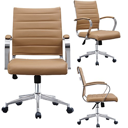 2xhome Modern Mid Back Ribbed PU Leather Swivel Tilt Adjustable Chair Designer Boss Executive Management Manager Office Chair Conference Room Work Task Computer (Tan)