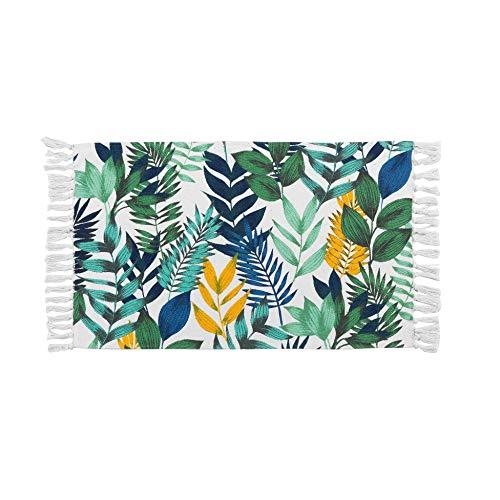 tapis rectangle a franges 50 x 80 cm coton imprime palma