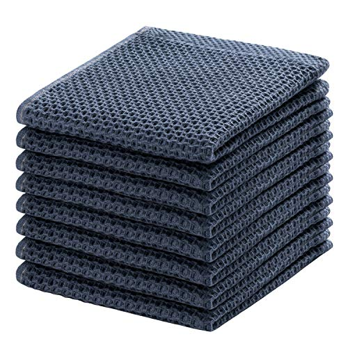100% Cotton Kitchen Dish Cloths, 8-Pack Waffle Weave Ultra Soft Absorbent Dish Towels Washcloths Quick Drying Dish Rags, 12x12 Inches, Dark Gray