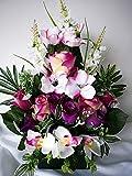 roselynexpress Composition de Fleurs lesté Ciment pour cimetière. Réalisé par nos Soins, Fleurs de très Bonne qualité.