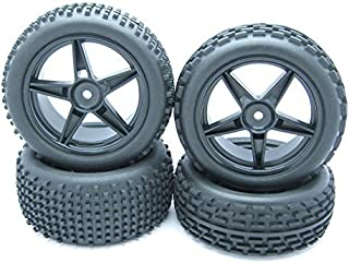JIUWU 1/10 Scale Off Road RC Buggy Front Wheels and Tyres x4 Black 5 Spoke for HSP