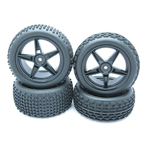 JIUWU 1:10 Scale Off Road RC Buggy Front Wheels and Tyres x4 Black 5 Spoke for HSP