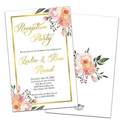 Gold Framed Floral Personalized Wedding Reception Invitations