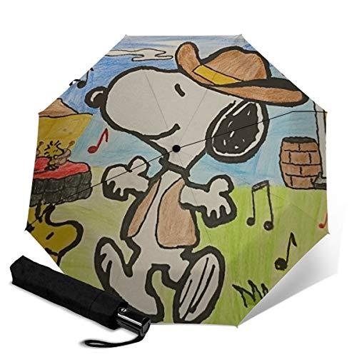 Cartoon-Snoopy-Regenschirm, dreifach faltbar, tragbar, winddicht, Auto-Sonnenschirm