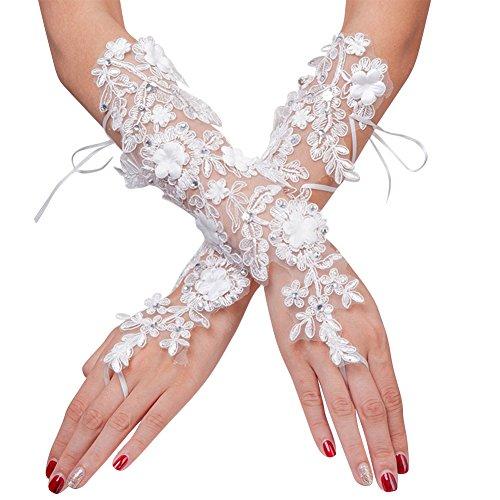 Guantes de boda blancos, guantes para disfraz de mujer guantes cortos guantes de encaje con cordones accesorios vestido de manga para banquetes fiestas Halloween