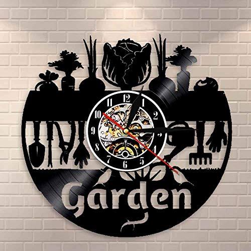 Nature Life - Reloj de pared de vinilo para jardín, hecho a mano, diseño vintage, regalo único, dormitorio, hogar, guardería, habitación de niños, decoración de pared