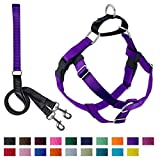 2 Hounds Design Freedom No-Pull Dog Harness and Leash, Adjustable Comfortable Control for Dog Walking, Made in USA (Small 5/8') (Purple)
