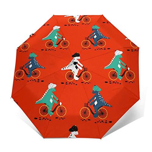 Paraguas automático de tres pliegues de dibujos animados de dinosaurio en bicicletas, protector solar impermeable, resistente al viento, plegable, para hombre y mujer al aire libre