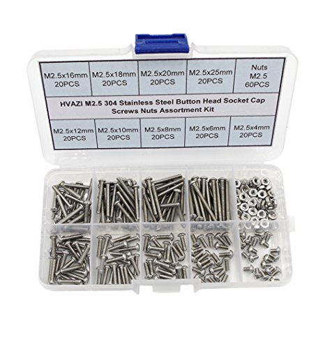 HVAZI Metric M2.5 304 Stainless Steel Button Head Socket Cap Screws Nuts Assortment Kit