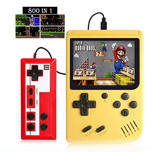 Handheld Game Console, Portable Retro Video Game Console with 800 Classic Games, 2 Player and TV Connection, Suitable for Children and Adults