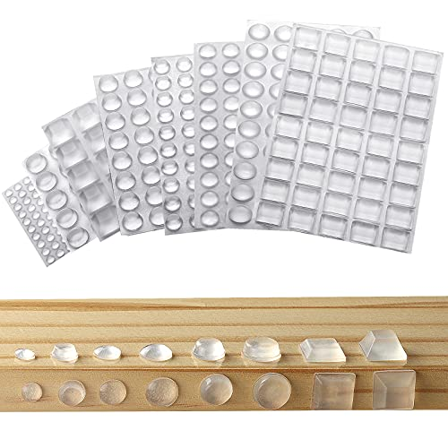 Elastikpuffer, 320 Stück Gummipuffer Schutzpuffer Transparent Möbelpuffer Selbstklebende Gummifüße Gumminoppen Lärm Dämpfung Pads Anschlagpuffer (8 Größen)
