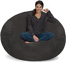 Chill Sack Bean Bag Chair: Giant 5' Memory Foam Furniture Bean Bag - Big Sofa with Soft Micro Fiber Cover - Grey Furry