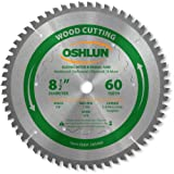 Oshlun SBW-085060 8-1/2-Inch 60 Tooth Negative Hook Finishing ATB Saw Blade with 5/8-Inch Arbor for Sliding Miter Saws