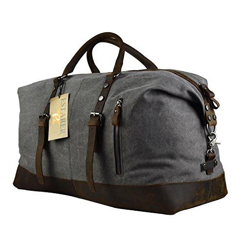 Estarer Weekender Tasche Handgepäck Reisetsache aus Canvas Segeltuch Vintage 50 Liter Updated -Grau