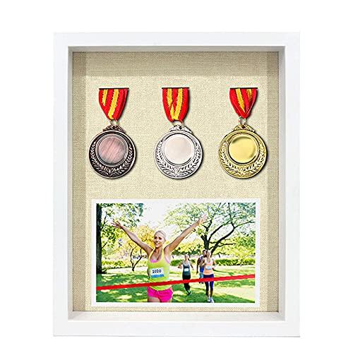 ABCSS Marco de exhibición de medallas,Expositor de medallas,Marco de Fotos de medallas de maratón,Marco de Fotos Tridimensional,Marco de Almacenamiento de Insignia