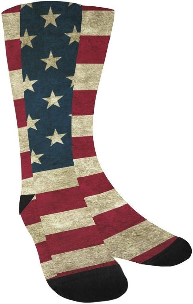 Unique Debora Custom Hosiery Knee-High Socks Leg Warmers for Unisex with Retro American Flag