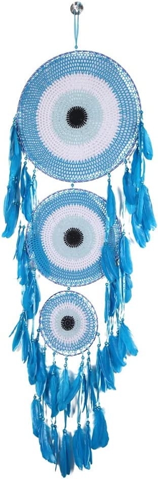 Anntool Large Boho Dream 70% OFF Outlet Catchers with Evil New Orleans Mall Ma Feather Eye Blue