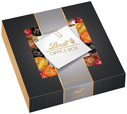 Lindt Lindor Office Box Edition 1, 935g, gefüllt mit zartschmelzenden Lindor Kugeln in den Sorten Milch, Feinherb 60%, Weiß, Haselnuss und Caramel, 1er Pack (1 x 935 g)