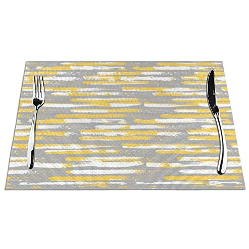 Meius Tischsets für Esstisch, gestreift, abstraktes Gelb und Gra, Set von 4 Vinyl-PVC-Platzsets, hitzebeständig, abwischbar, rutschfest, gewebt, Tischsets für Küche Restaurant