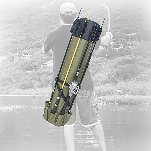 MDSTOP Angelruten-Tasche aus Segeltuch, zum Organisieren von Angelruten, Werkzeugtasche (Armeegrün)