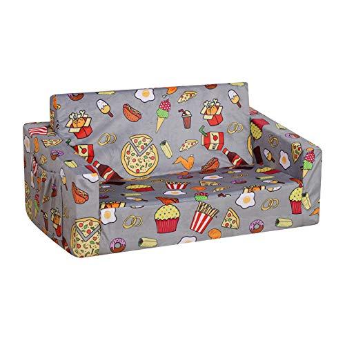 PWTJ Kid Sofa Couch, Double Seat 2 in 1 Flip Open Children Foam Sofa for Ideal Kid Gift (Grey)